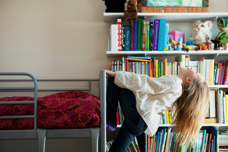 bunkbed: Girl playing on bunkbed