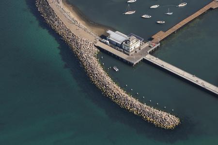 st kilda: Aerial view of St Kilda pier, Melbourne, Victoria, Australia