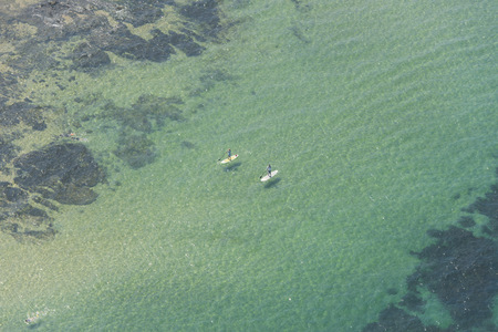 st kilda: Aerial view of two paddle boarders, St Kilda, Melbourne, Victoria, Australia LANG_EVOIMAGES