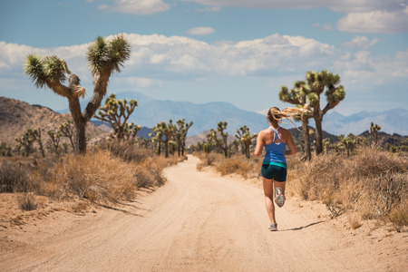 joshua: Woman running, Joshua Tree National Park, California, US