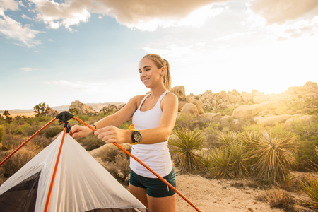 joshua: Woman setting up tent, Joshua Tree National Park, California, US