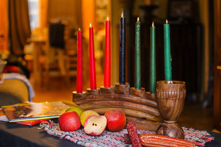 kwanzaa: Kinara candles for Kwanzaa celebration LANG_EVOIMAGES