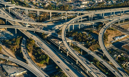 Aerial view of flyovers and highways, Los Angeles, California, USA
