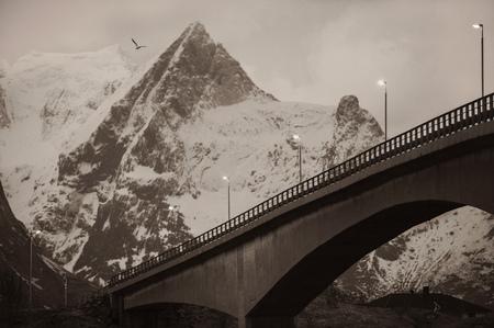 Mountain bridge in sepia, Reine, Lofoten, Norway LANG_EVOIMAGES