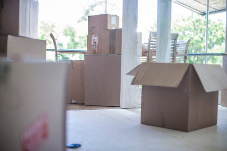 moving box: Moving House: Room Filled With Cardboard Boxes