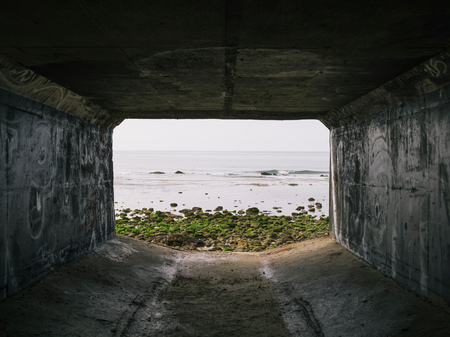 Rectangular tunnel looking out to sea, La Conchita, California, USA LANG_EVOIMAGES