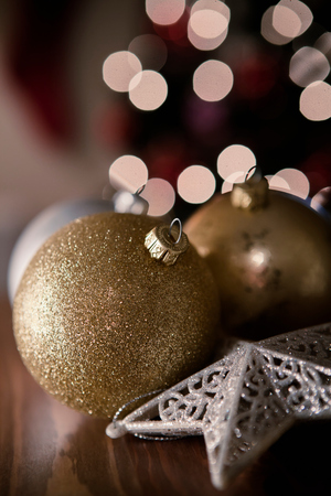 atmosphere: Gold and silver christmas baubles