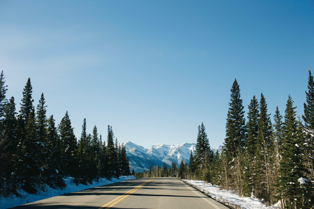 canmore: Empty road, Rocky Mountains, Canmore, Alberta, Canada