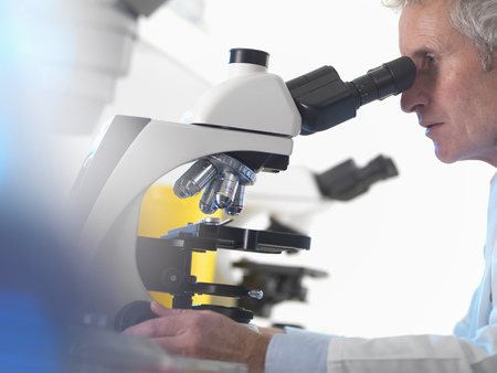 50 54 years: Scientist using microscope in lab