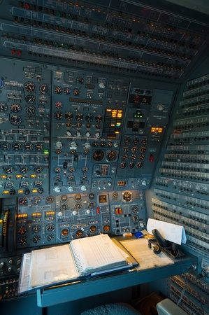Royal Dutch Airforce McDonnell Douglas KDC-10 Aerial refueling and freight plane, based on MD-11 civil plane. Instrument panel for the cockpit mechanic