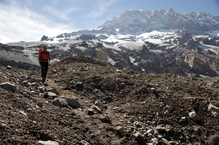 horcones: Woman descends the Horcones Valley from Plaza de Mulas on Aconcagua in the Andes Mountains,Mendoza Province,Argentina LANG_EVOIMAGES