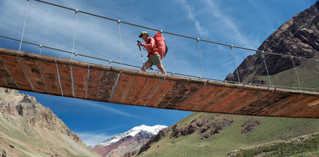 horcones: Woman crosses bridge over the Horcones River, Aconcagua in the Andes Mountains,Mendoza Province,Argentina LANG_EVOIMAGES