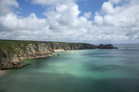 View of cliffs and coastline, Porthcurno, Cornwall, UK