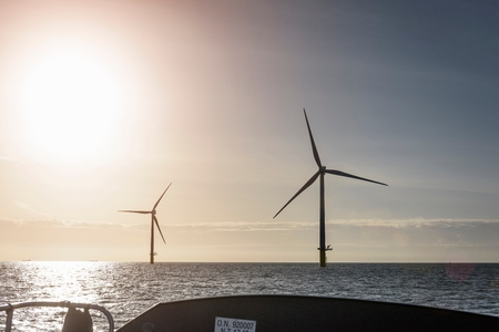carbon neutral: View of offshore windfarm from service boat at sea LANG_EVOIMAGES