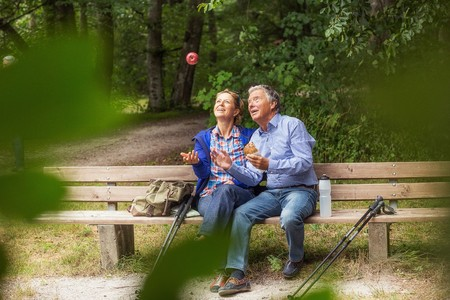50 54 years: Couple sitting on bench in forest, woman throwing apple in air