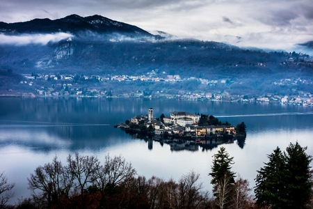 orta: Elevated view of an island on Lake Orta, Italy