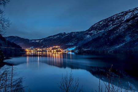 Buildings illuminated at night, Granvin, Norway