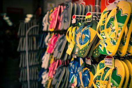 flip flops: Flip flops in souvenir shop, Rio De Janeiro, Brazil