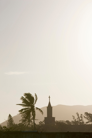 fort dauphin: A local church in silhouette at Fort Dauphin, Madagascar