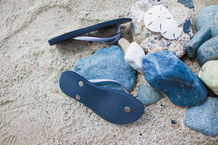 flip flops: Pair of blue flip flops on sand