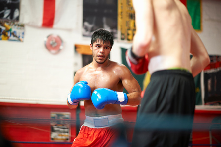 boxing day: Two boxers sparring in boxing ring