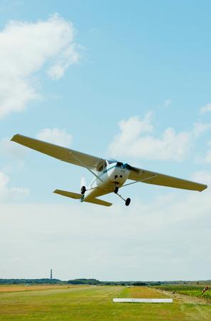 Airplane taking off from airfield, Ballum, Friesland, Netherlands