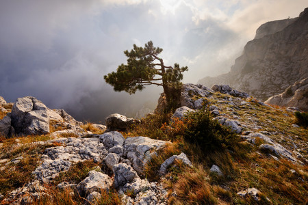 View of storm clouds from Ai-Petri Mountain, Crimea, Ukraine
