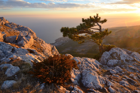 View of mountain sunset from Ai-Petri Mountain, Crimea, Ukraine LANG_EVOIMAGES