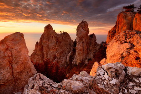 View of rock formations at sunset from Ai-Petri Mountain, Crimea, Ukraine