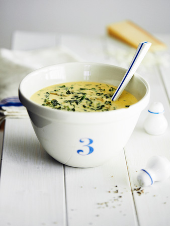 Soup in bowl with number three LANG_EVOIMAGES