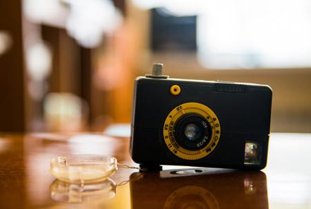 Vintage camera on table