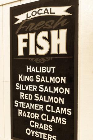 homer: Fishmongers shop sign, Homer Spit, Kachemak Bay, Alaska, USA