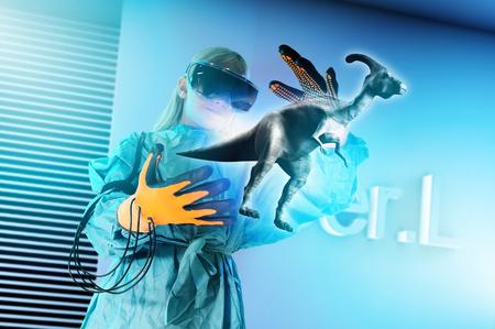 educacion ambiental: Girl in virtual reality headset interacting with digital floating dinosaur
