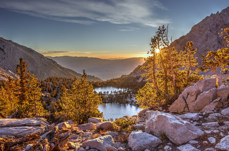 Onion Valley, Sierra Nevada mountain range at sunset, California, USA