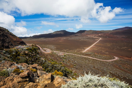 Volcanic landscape with highway, Reunion National Park, Reunion Island LANG_EVOIMAGES