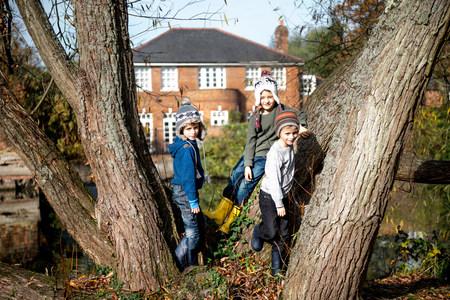 Portret trzy młodej chłopiec, opiera przeciw drzewu LANG_EVOIMAGES