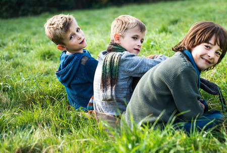 Portrait of three boys, sitting together in field, in autumn