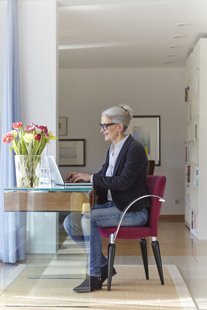 aging woman: Senior businesswoman typing on laptop at home desk LANG_EVOIMAGES