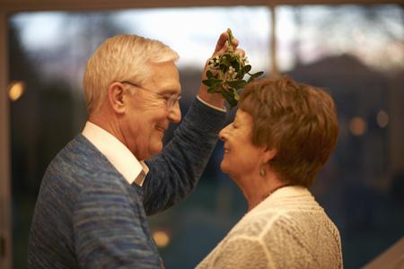 aging face: Romantic senior couple holding mistletoe LANG_EVOIMAGES