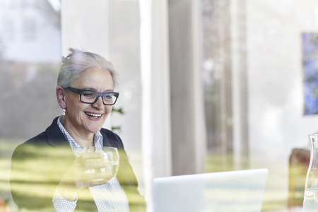 aging woman: Home window view of senior businesswoman looking at laptop