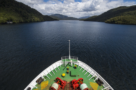 Bow of a ferry crossing the Patagonian fjords,Chile LANG_EVOIMAGES