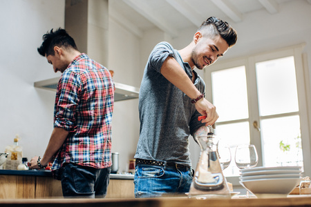 age 25 30 years: Male couple in kitchen,preparing meal