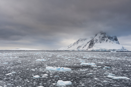 Ocean and grey sky,Lemaire channel,Antarctica