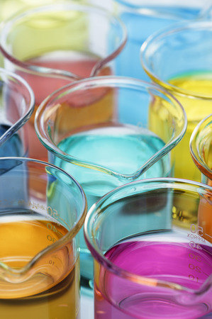 Beakers with solutions of transition metal salts LANG_EVOIMAGES