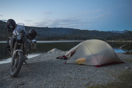 Camp beside still lake,close to Ruta J,Tierra del Fuego,Argentina LANG_EVOIMAGES