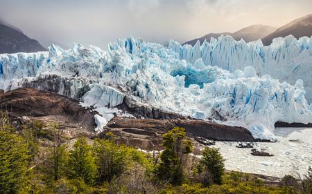 View of mountains and Perito Moreno Glacier, Los Glaciares National Park, Patagonia, Chile