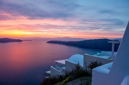 View to sea and sunset, Oía, Santorini, Kikladhes, Greece