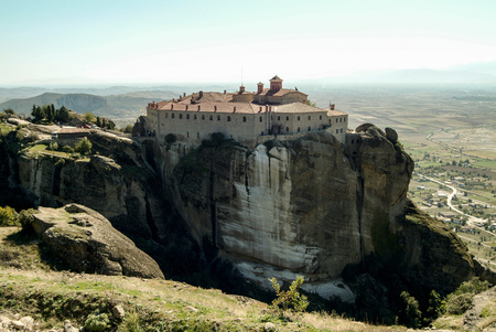 Elevated Landscape View Of Varlaam Monastery On Rock Formation, Meteora, Thassaly, Greece