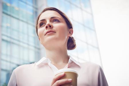 Business Woman On Coffee Break, London, Uk