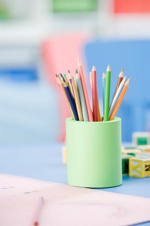 Coloured Pencils In A Desk Tidy